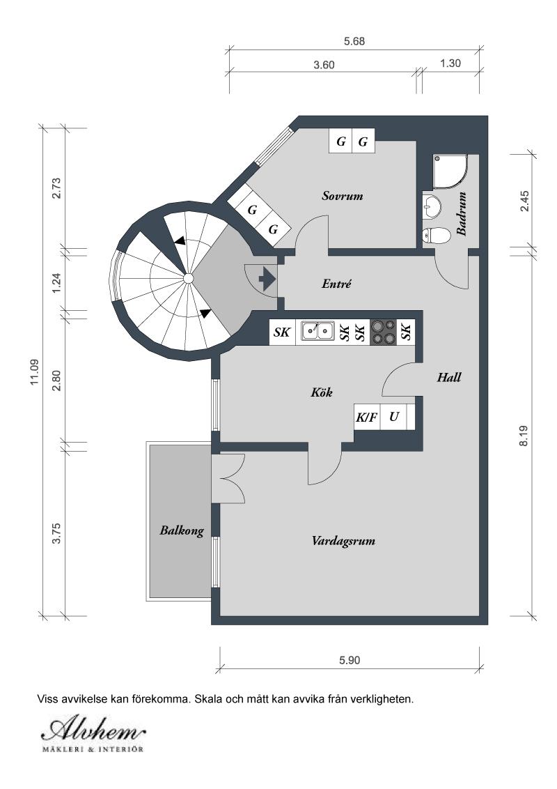 Nordhemsgatan 74 B 2 rum 59 kvm plan
