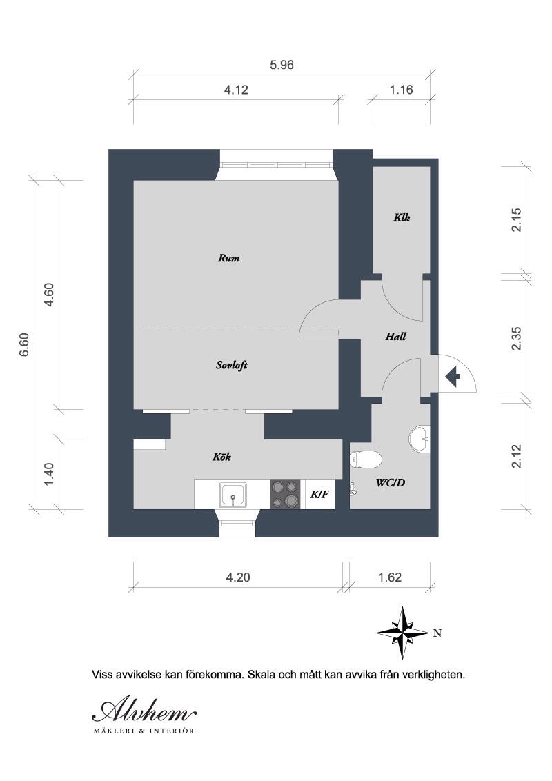 Hvitfeldtsgatan 7B 1 rum 36 kvm plan