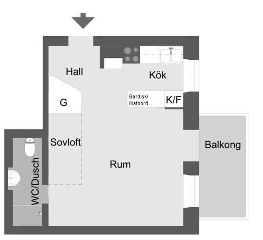 1 rum 33 kvm plan