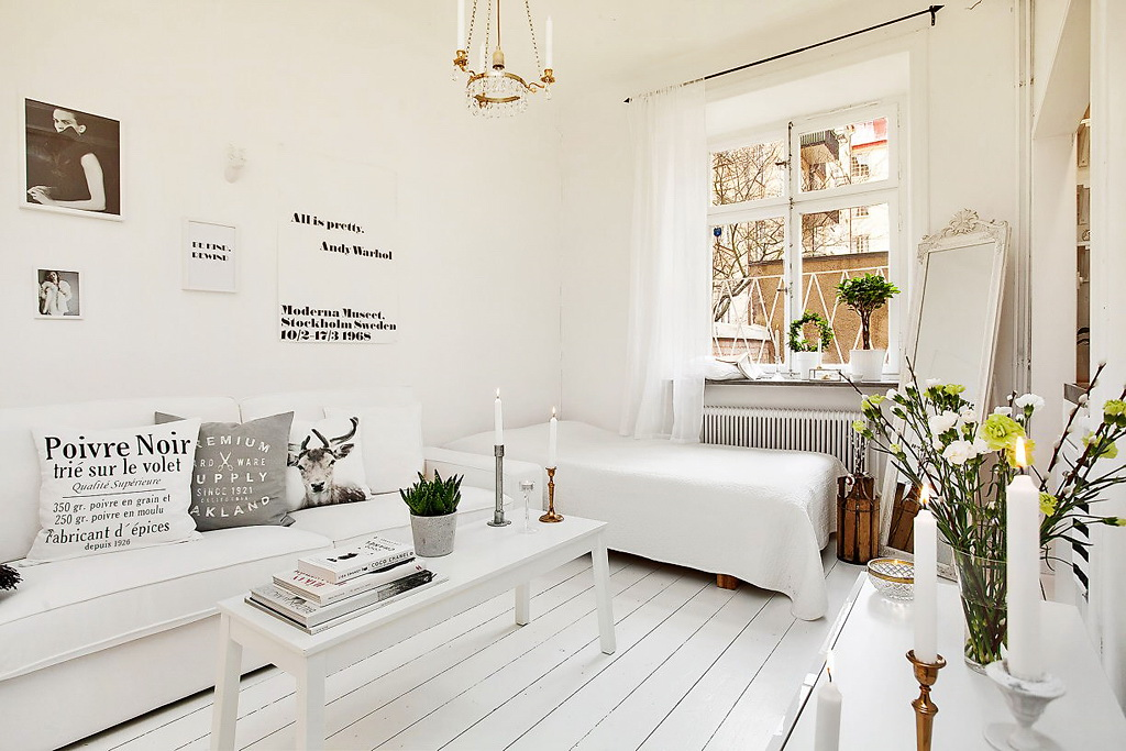 decordemon tiny and girly swedish apartment. Black Bedroom Furniture Sets. Home Design Ideas