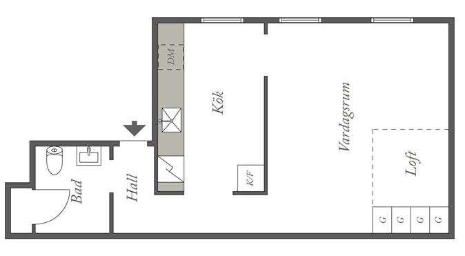 1 room 36 m2 plan