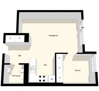 2 room 39 m2 plan