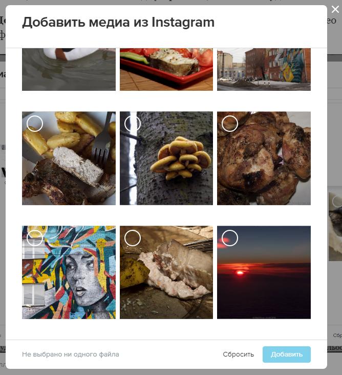 4. Скрин окна добавления медиа из instagram