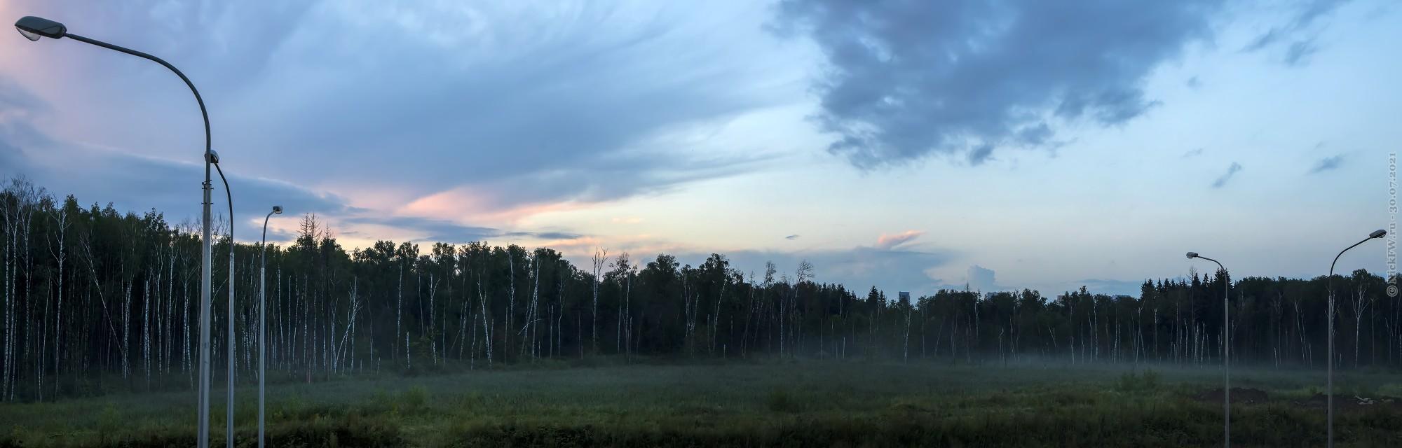 4. Туман перед лесом в Московском — панорама © NickFW.ru — 30.07.2021г.