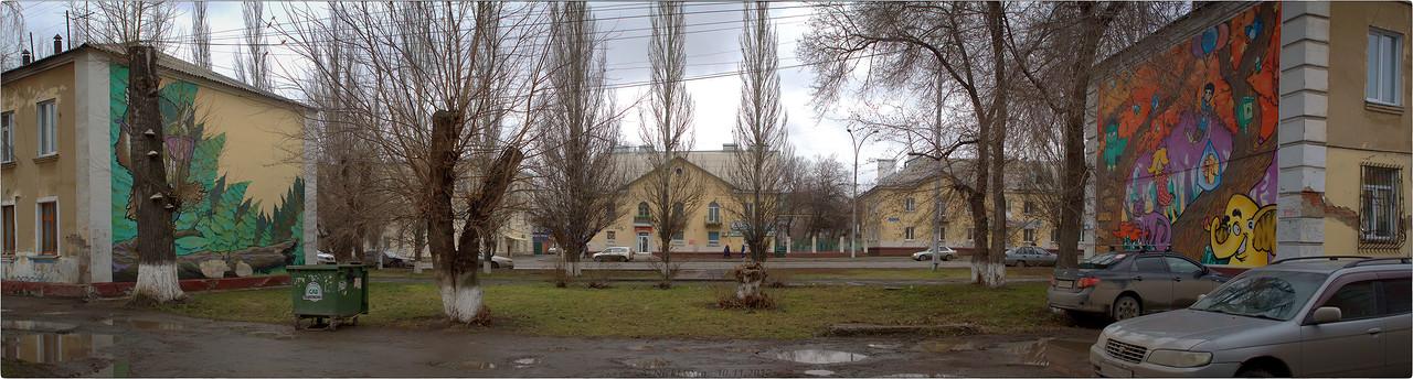граффити на пр.Ленина панорама между домами 16 и 18 [© NickFW - 10.11.2017]