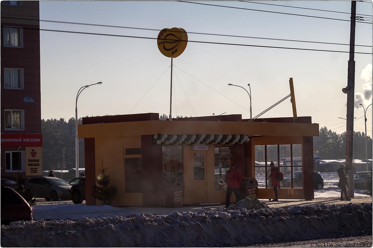 Кофейня Подорожник на остановке Серябряный бор [© NickFW - 25.11.2017]