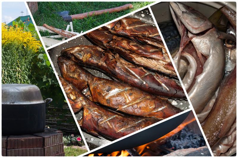 1. Копчение рыбы в самодельной коптильне [© Nickfw.ru - 05.08.2017]