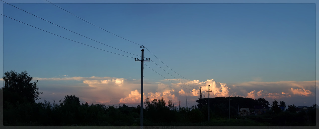 Отражение заката в облаках - панорама (© NickFW - 22.06.2017)