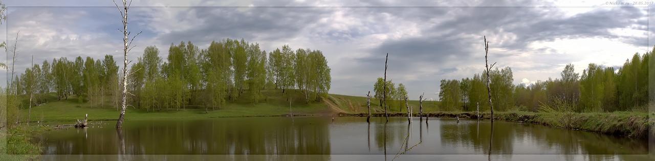 Панорама пруда на безымянном правом притоке Люскуса (© NickFW - 20.05.2017)