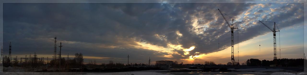 Панорама Рассвета с улицы Серебряный бор (© NickFW - 12.04.2017)