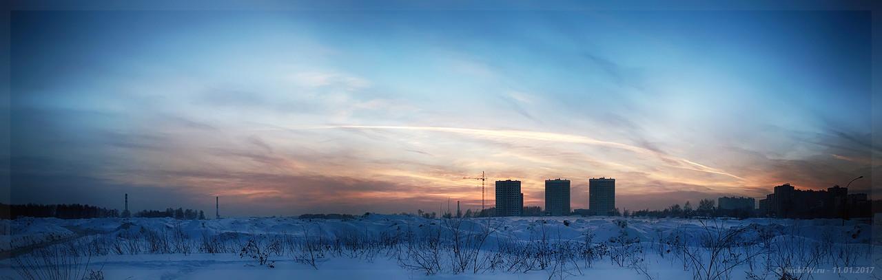 Панорама Закат над ЖК Верхний бульвар (© NickFW - 11.01.2017)