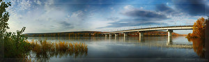 Панорама реки Томь - Вид на Кузбасский мост (© NickFW - 03.10.2015)