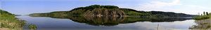 Панорама р. Томь с левого берега в районе с. Денисово (КО панорама 12 кадров - 03.06.2012)