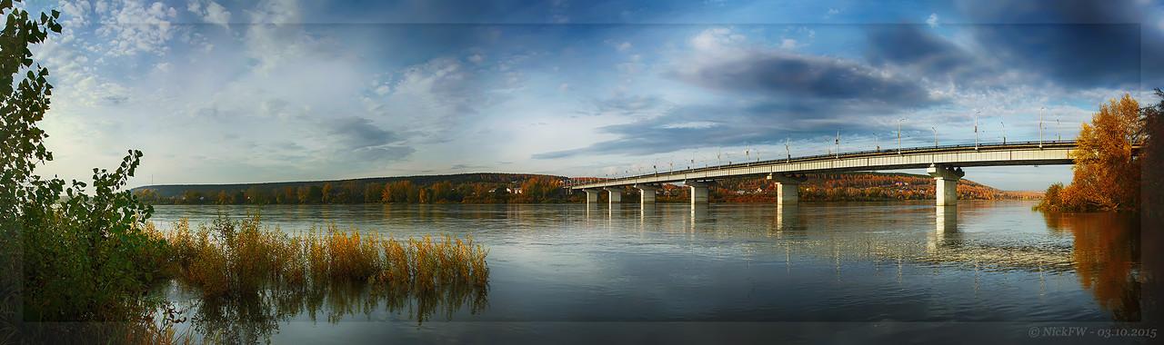 Панорама реки Томь - Вид на Кузбасский мост [© NickFW - 03.10.2015]