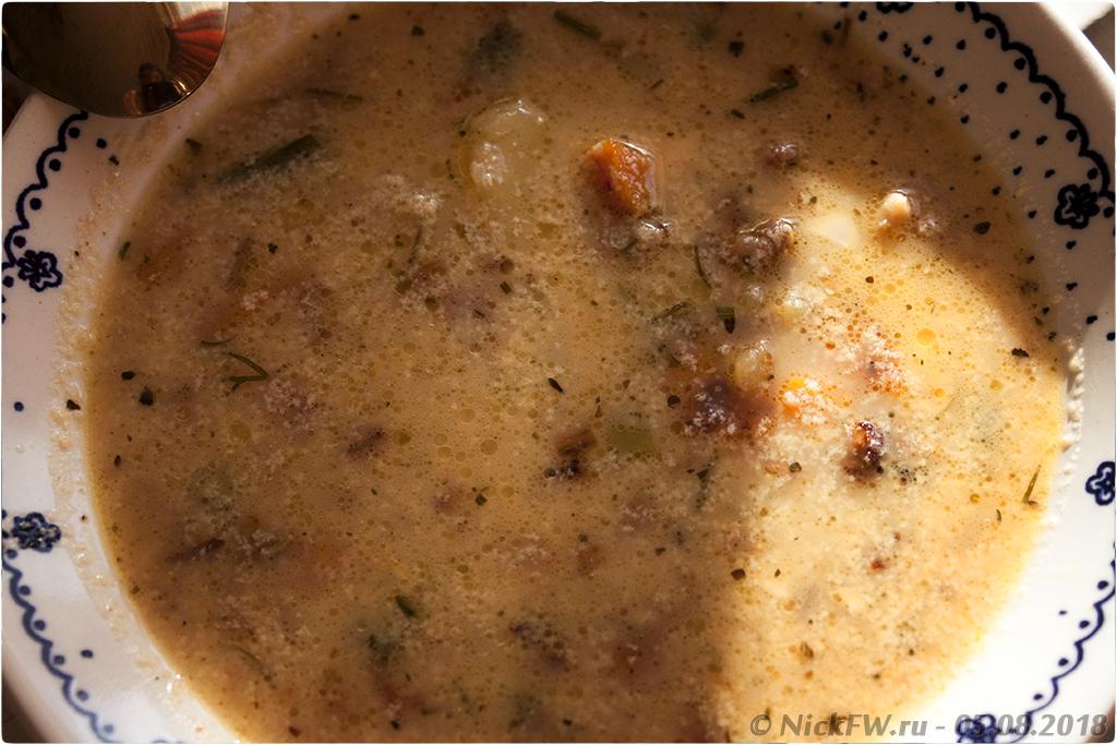 13. Сырный суп с фаршем грибами яйцом и молоком - © NickFW.ru