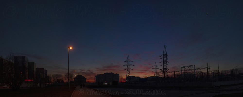 2. Панорама: Рассвет над Говорово... © NickFW.ru - 23.11.2019г.