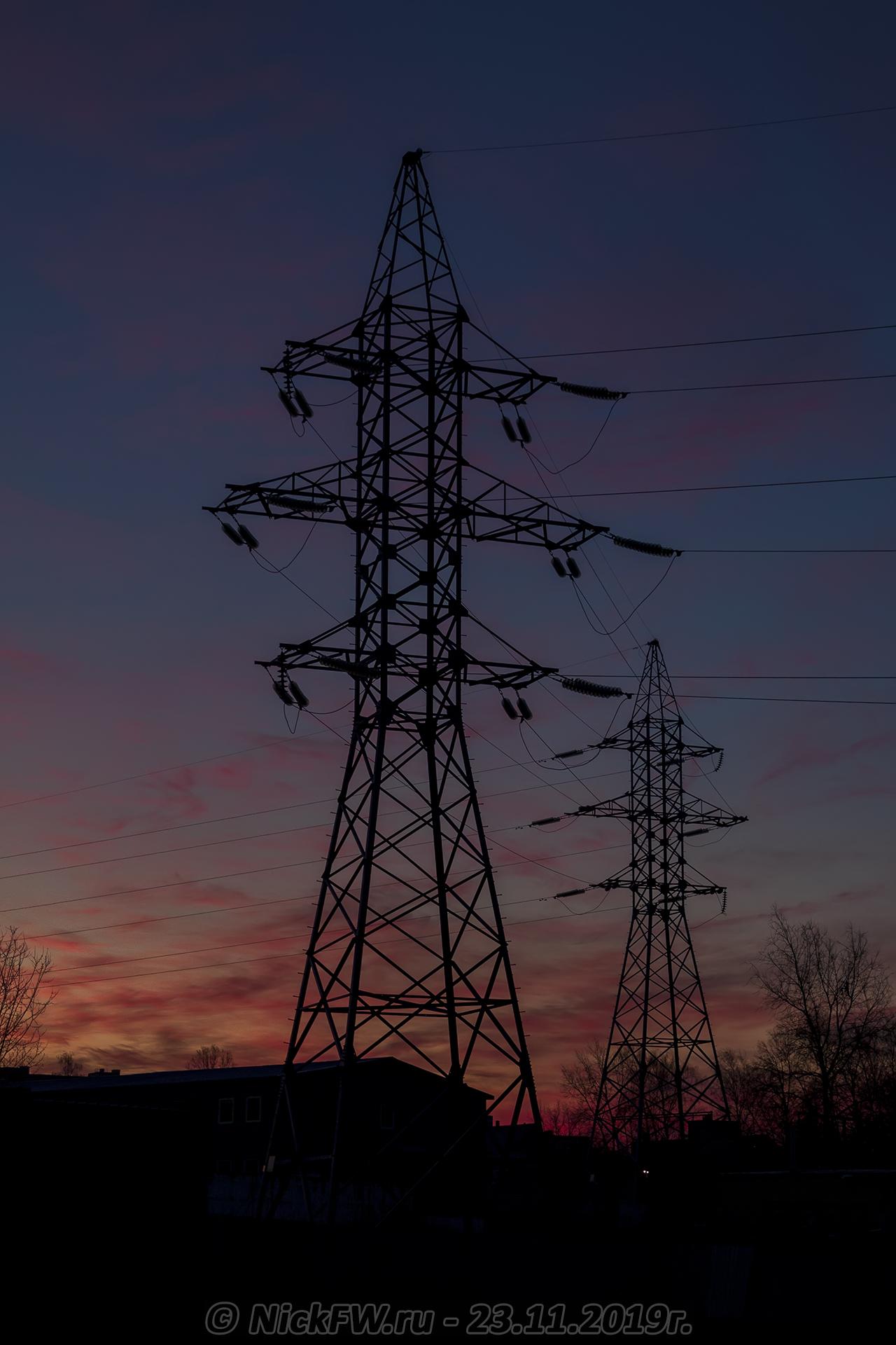 5. Рассвет над ЛЭП в Говорово... © NickFW.ru - 23.11.2019г.