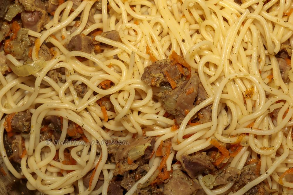 9. Куриные желудочки со спагетти © NickFW.ru - 05.04.2020г.