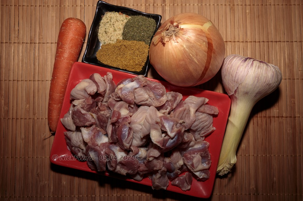 2. Куриные желудочки со спагетти - ингредиенты © NickFW.ru - 05.04.2020г.