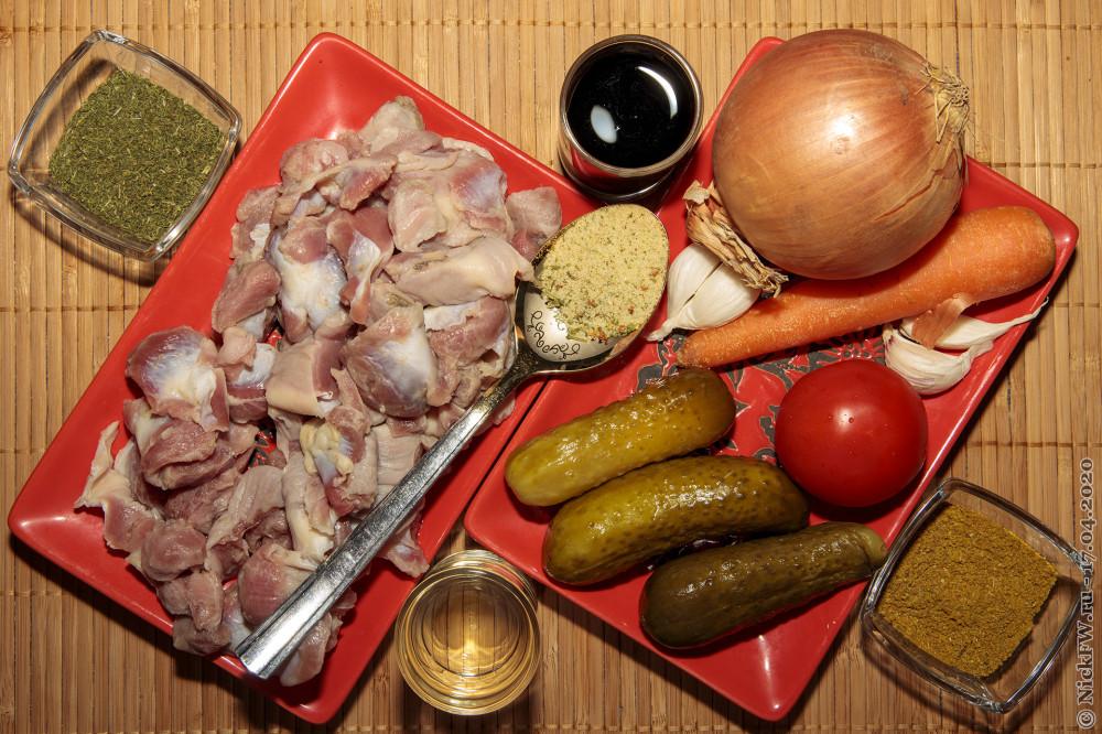 2. Куриные желудки с солёными огурцами тушёные в соевом соусе - ингредиенты © NickFW.ru - 17.04.2020г.