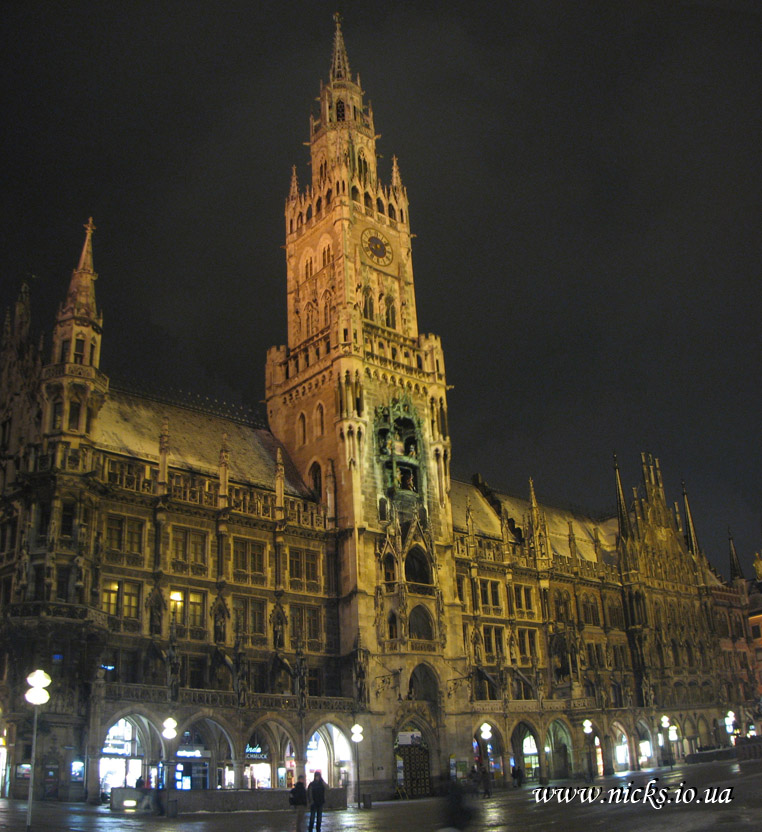 Мюнхен, міська Ратуша (Munich, Town Hall and Marienplatz)