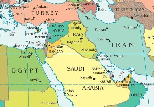 Middle east countries map and list of Countries