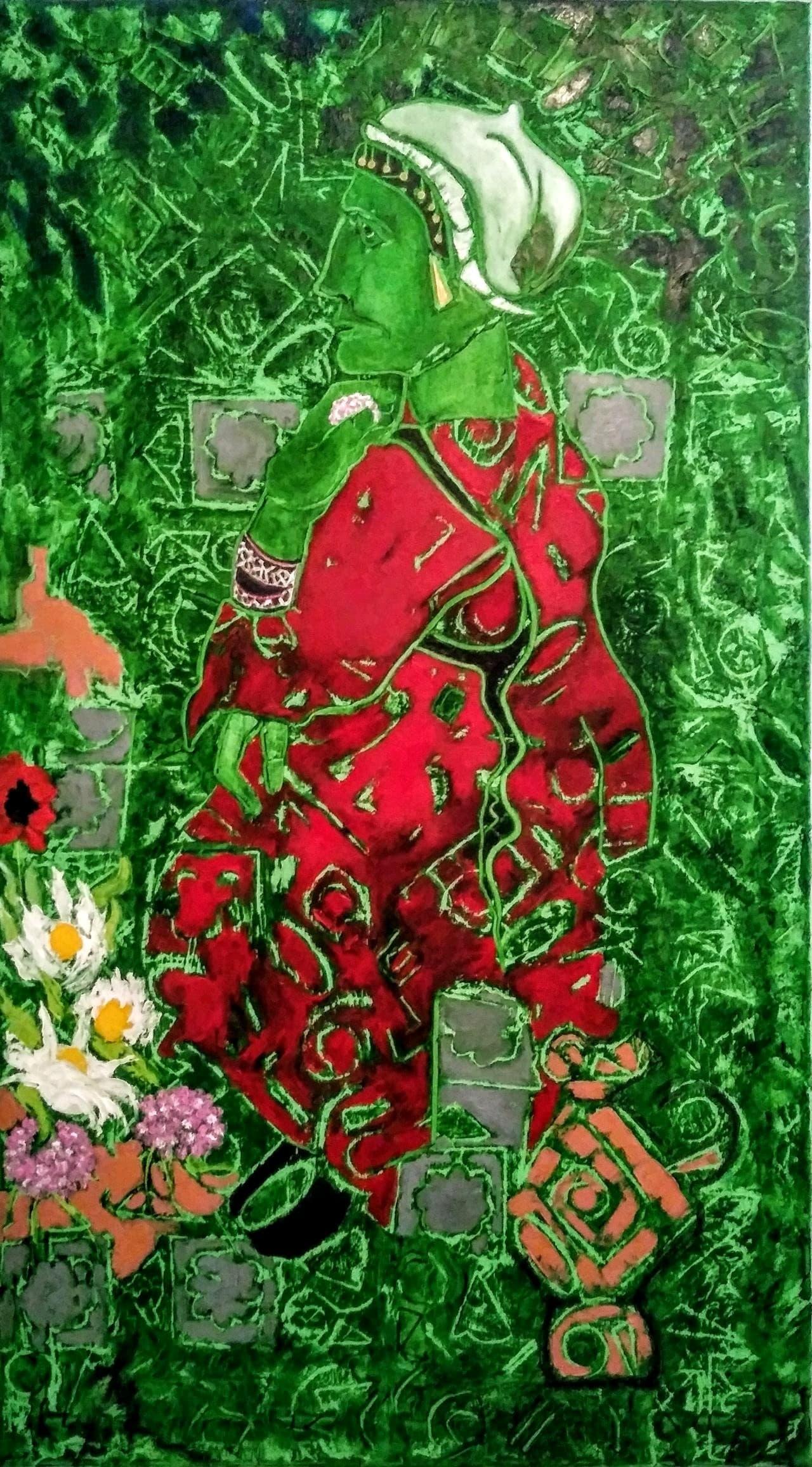 """AnnyRose Nahapetian""""Art Is Lifestyle"""" յուղաներկ աշխատանք 70 x 125cm ''Street Flower saler"""""""