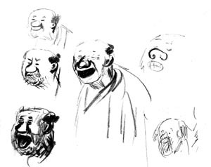 Chikusai. Sketches, trying to find the character