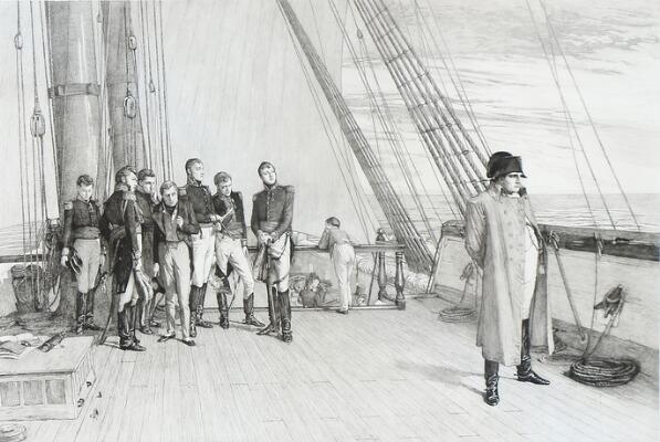 Наполеон на борту Корабля Его Величества «Беллерофон». Явно прощается с Францией