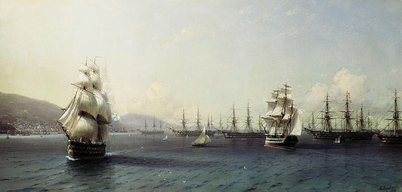 Черноморский флот в Феодосии  И.К.Айвазовский  1890г.