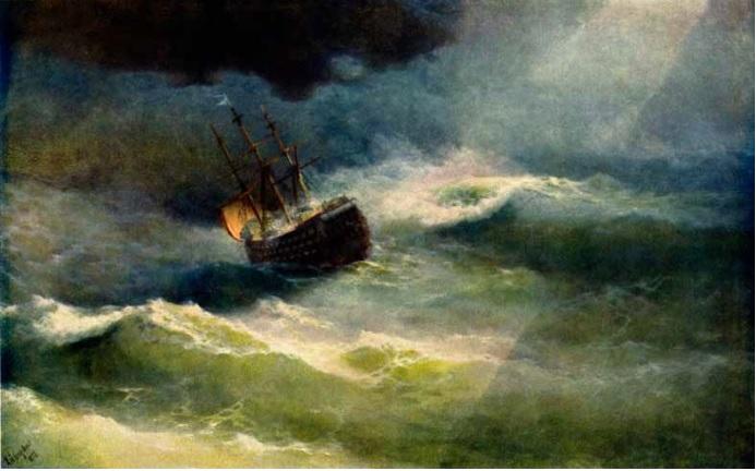 Корабль «Императрица Мария» во время шторма  И.К.Айвазовский  1892 год.