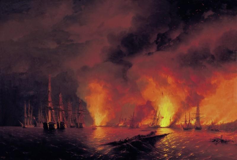 Синопский бой 18 ноября 1853 года (Ночь после боя)  И.К.Айвазовский  1853 год