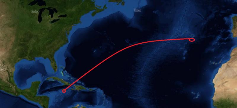 Примерный маршрут капитана Инглефилда от Ямайки до острова Фаял