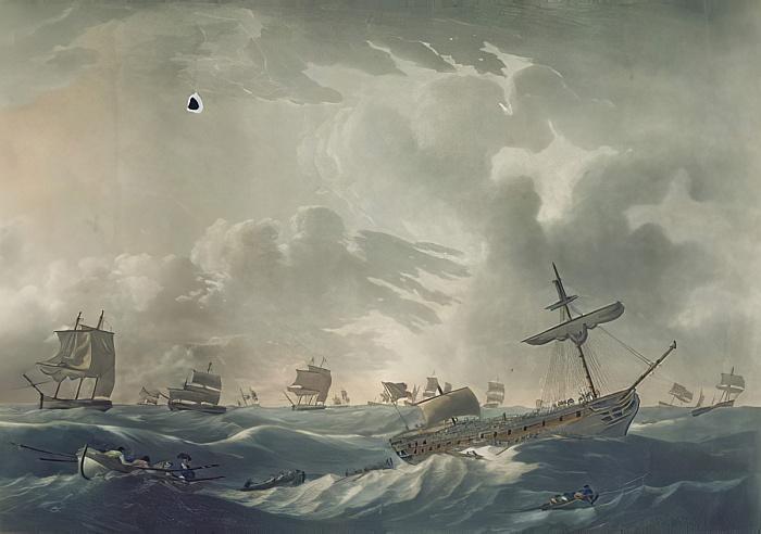 """""""Адмирал и экипаж покидают тонущий """"Рамилис""""  гравюра Френсиса Джукса 1795 год"""