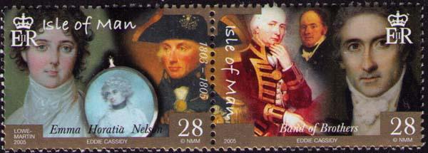 Почтовая марка, выпущенная в Англии к 200-летию Трафальгарской битвы, с изображением адмирала Нельсона, леди Гамильтон, Эдварда Риу и прочих