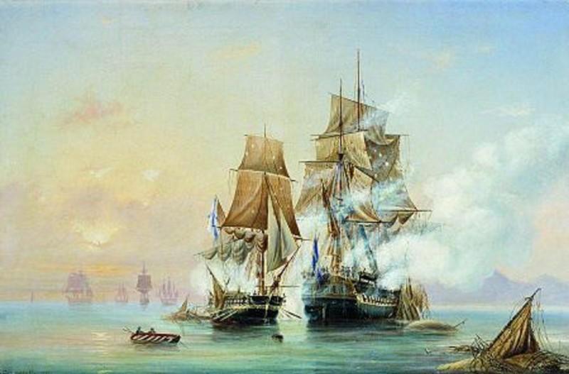Захват катером «Меркурий» шведского фрегата «Венус» 1789 г.  А. П. Боголюбов
