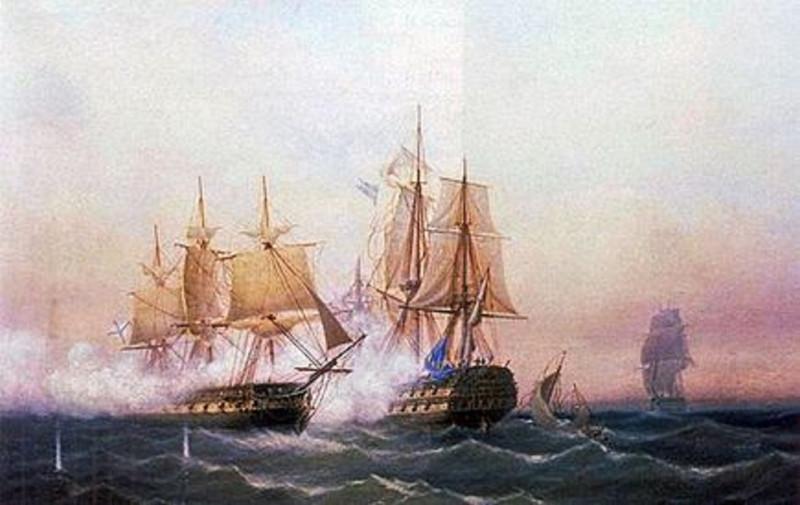 Захват фрегатом «Венус» шведского линейного корабля «Ретвизан» 23 июня 1790 года К. В. Шаренберг.
