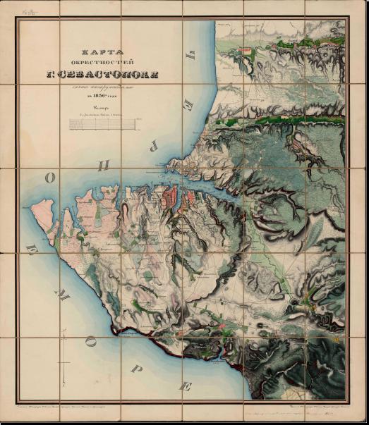 Карта окрестностей г.Севастополя снятая инструментально в 1836 году. Чертил топограф 2-го класса унтер-офицер Осипов