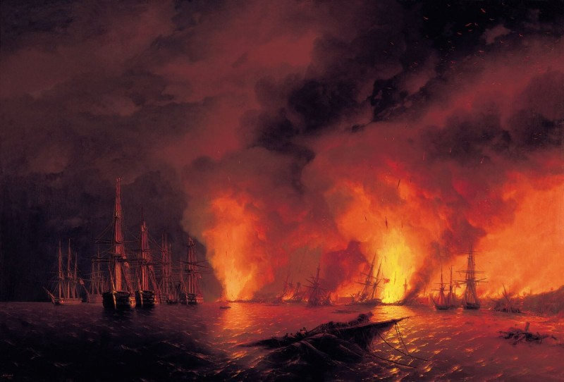 Синопский бой. Ночь после боя  Айвазовский И.К.  1853г.