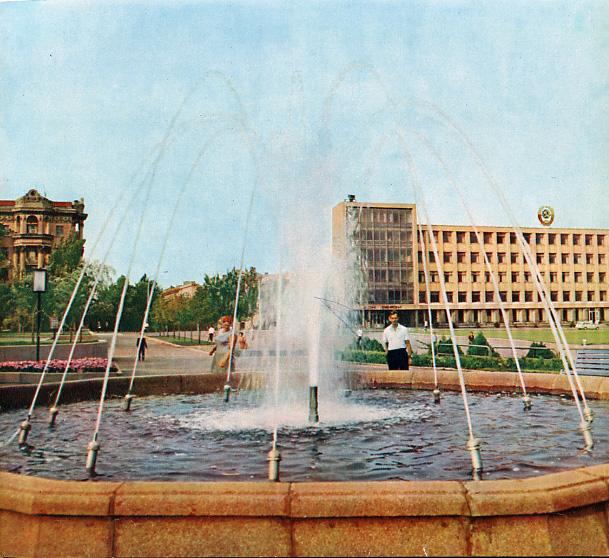 Фонтан на месте часовни Св. Николая на площади Ленина, город Николаев