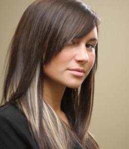 Мелирование на русые волосы белыми прядями фото