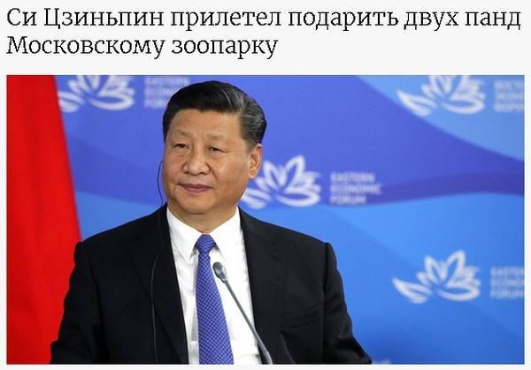 Путин и Си Цзиньпин обменялись подарками. 1 панда пошла за 1 миллион гектаров