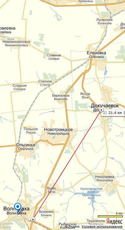 Волноваха-Докучаевск(карта)