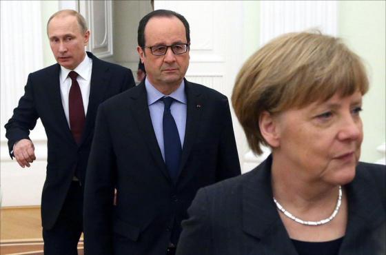 Меркель, Олланд и шестерящий Путин