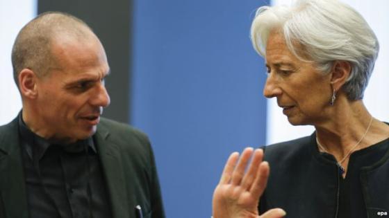 Министр финансов Греции Янис Варуфакис (слева) и директор-распорядитель МВФ Кристин Лагард