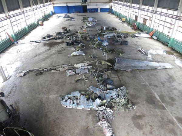 Началась выкладка остатков самолёта