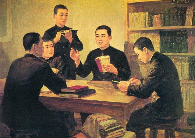 Ким Ир Сен проводит занятия среди молодежи по унификации мышления с опорой на классиков Марксизма-Ленинизма