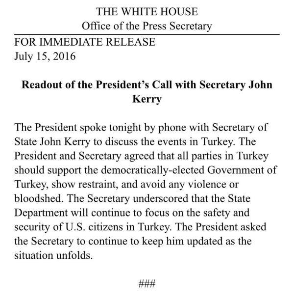 Обама поддержал Эрдогана