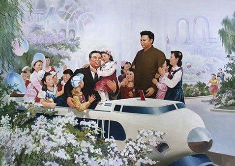 Ким Ир Сен и Ким Чен Ир окружают детей Кореи отеческой заботой