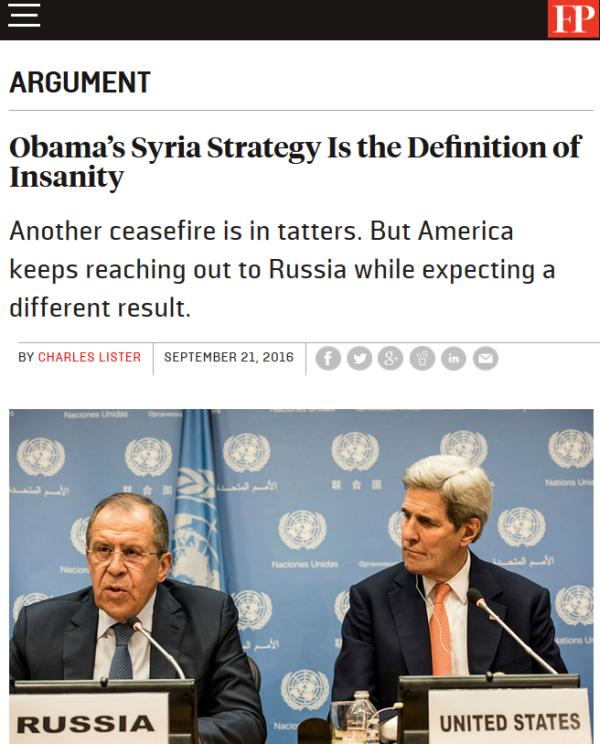 Obama's Syria Strategy Is the Definition of Insanity